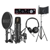 Rode NT1 Kit Condenser Microphone w/ Focusrite Audio Interface, AxcessAbles Studio Microphone Isolation Shield and Stereo Headphones