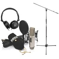 Rode NT2-A Cardioid Condenser Microphone Studio Bundle w/ AxcessAbles Stereo Headphones and Microphone Stand
