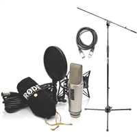 Rode NT2-A Cardioid Condenser Microphone Studio Bundle with Microphone Stand with Boom and XLR Cable
