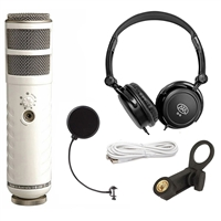 Rode Podcaster USB Dynamic Mic w/ Headphones & Windpop Universal Mic Pop Filter