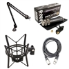 Rode Procaster Dynamic Microphone with Rode PSA1 Studio Boom Arm and Rode PSM1 Shock Mount