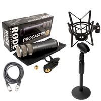 Rode Procaster Dynamic Podcasting Mic w/ PSM1 Shock Mount, AxcessAbles Desk Stand & XLR Cable