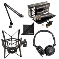 Rode Microphones Procaster Broadcast Dynamic Microphone Bundle with Rode PSA1 Studio Boom Arm, PSM1 Shock Mount, Mic Cable, and Polishing Cloth