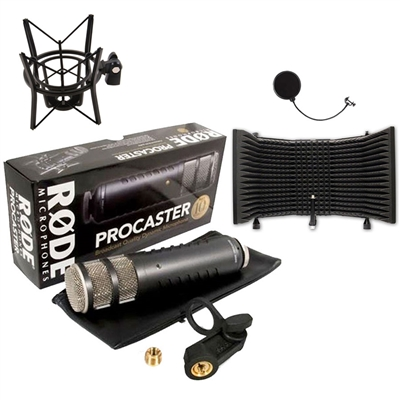 Rode Procaster Dynamic Microphone with XLR Connection with Shock Mount and Microphone Isolation Shield
