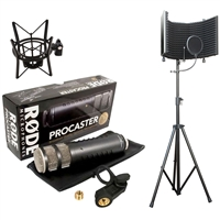 Rode Procaster Dynamic Microphone with XLR Connection with Shock Mount and Microphone Isolation Shield With Stand