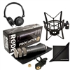 Rode Procaster Dynamic Microphone w/ Shock Mount, AxcessAbles Stereo Headphones and Audio Cable