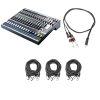 Soundcraft EFX12 12-Channel Audio Mixer with 3 AxcessAbles XLR-XLR20-2 Audio Cables and AxcessAbles TRS18-D14TS109 Audio Cable