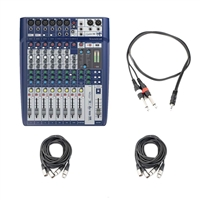 Soundcraft Signature 10 Compact Analogue Mixer with 2 AxcessAbles XLR-XLR20-2 Audio Cables and AxcessAbles TRS18-D14TS109 Audio Cable