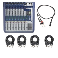 Soundcraft Signature 16 Compact Analogue Mixer with 8 XLR Cables and 1 TRS Cable