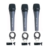 Sennheiser e 835 Dynamic Vocal Microphone (3-Pack) with Cables