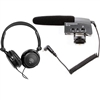 Sennheiser MKE400 Shotgun DSLR Mic with Samson SR350 Over-Ear Stereo Headphones Bundle