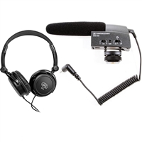 Sennheiser MKE400 Shotgun DSLR Mic with Tascam TH-02 Headphones Bundle