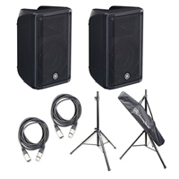 "Yamaha DBR10- 10"" 2-Way Powered Loudspeaker (Pair) with AxcessAbles SSB-101 Speaker Stands and 2 AxcessAbles XLR-XLR20 Audio Cable"