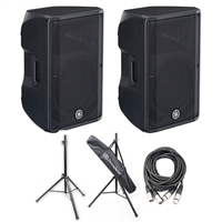 Yamaha DBR12- 12' 2-Way Powered Loudspeaker with Speaker Stands and Cables