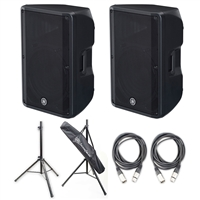 Yamaha DBR15- 15' 2-Way Powered Loudspeaker with Speaker Stands and Cables