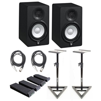 Yamaha HS5 Active Monitors (Pair) with PrimAcoustic IsoPlane, Monitor Stands, and TRS-XLR Male Cables