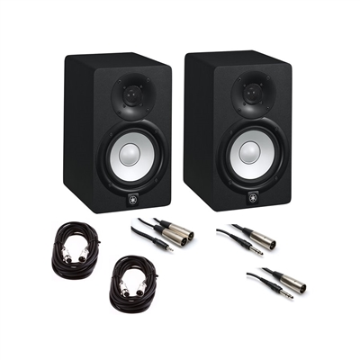 Yamaha HS5 5 in  Studio Monitor Pair with XLR, TRS to XLR, and 1/8 in  to  XLR Cables Bundle