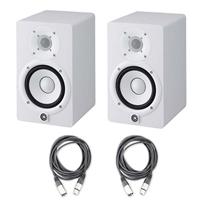 Yamaha HS5 Powered Studio Monitors Pair WHITE w/ (2) XLR Cables