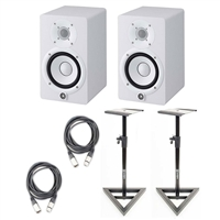 Yamaha HS5 W 5-Inch Powered Studio Monitor, White (Pair) w/Monitor Stands and (2) XLR Cables 20ft