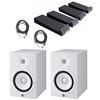 Yamaha HS8 Studio Monitor White Pair with Monitor Pads and TRS to XLR Cables