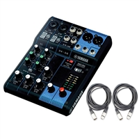 Yamaha MG06 6-Input Mixer with 2 AxcessAbles XLR-XLR20 Audio Cable