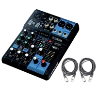 Yamaha MG06X 6 Input Stereo Mixer with 2 XLR Mic Cables - 20 ft.