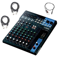 Yamaha MG10 - 10-Input Mixer with 2 AxcessAbles XLR-XLR20 Audio Cable and AxcessAbles TRS18-D14TS103 Audio Cable