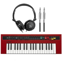 Yamaha Reface YC - Mobile Mini-Combo Organ with Samson SR350 Headphones and AxcessAbles I-010 Guitar Instrument Cables - 10 Feet