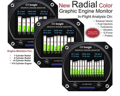 Insight Avionics G9 Aircraft Engine Monitor Instruments Single Management Monitors