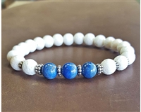 LAPIS and White CORAL with SILVER Beaded Bracelet