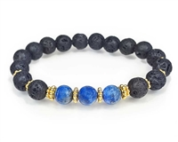 Lapis and Lava Stone with Gold Beaded Bracelet
