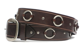 "1.5"" Brown Leather Ring Belt"