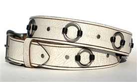 "Ring Belt 1.5"" - Crackle White Leather"