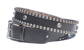 Black Leather Spot Stud Belt