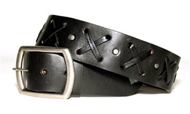 X Weave Belt BLACK Leather