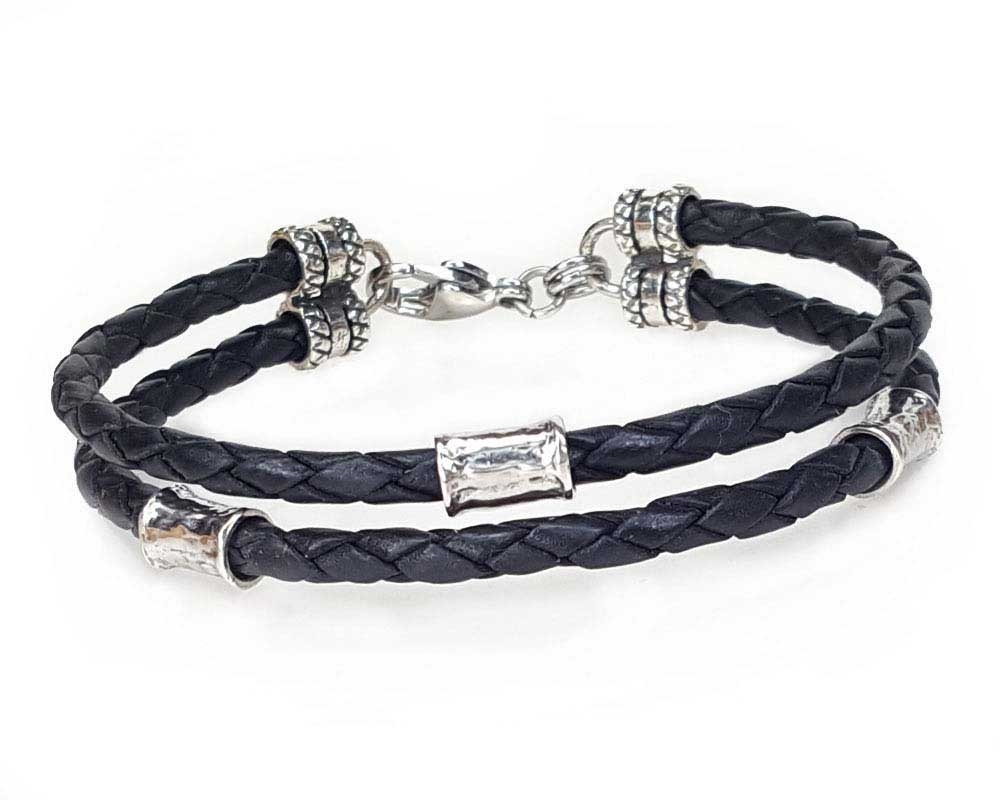 BLACK Leather 2 Strand Bracelet with 4mm Silver Beads · View Larger Photo