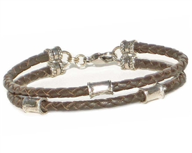 BROWN Leather 2 Strand Bracelet with 4mm Silver Beads
