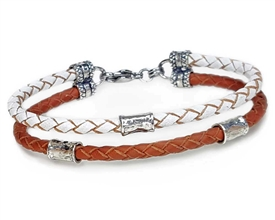 Saddle Brown and White Leather 2 Strand Bracelet with 4mm Silver Beads