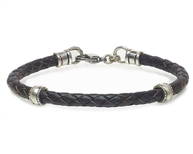 BROWN Leather Cord Bracelet with 5mm Silver Beads