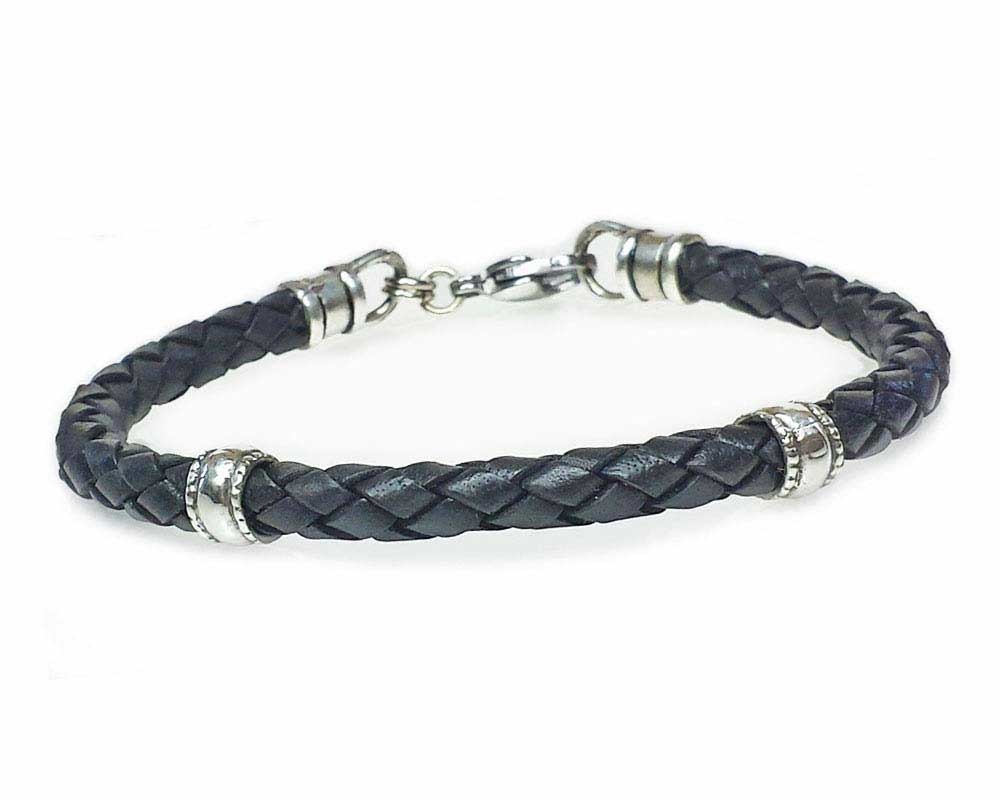 black with blk beads bo lucky cord p silver htm dog bracelet leather