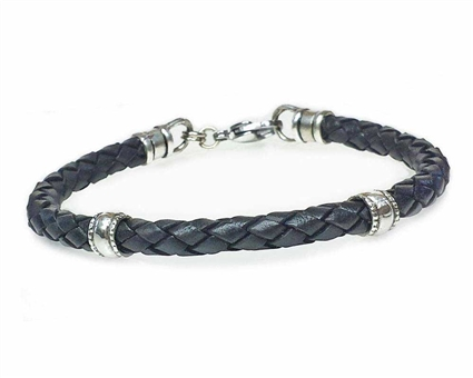 BLACK Leather Cord Bracelet with 5mm Silver Beads