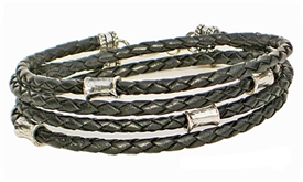 BLACK Leather Double Double Bracelet with Sterling Silver