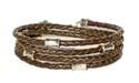 BROWN Leather Double Double Bracelet with 4 mm Silver Beads