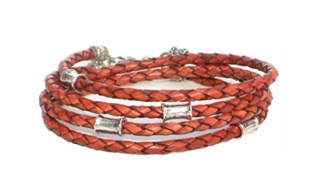 RUST Leather Double Double Bracelet with 4 mm Silver Beads