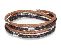 SADDLE and BROWN Leather Double Double Bracelet with Sterling Silver