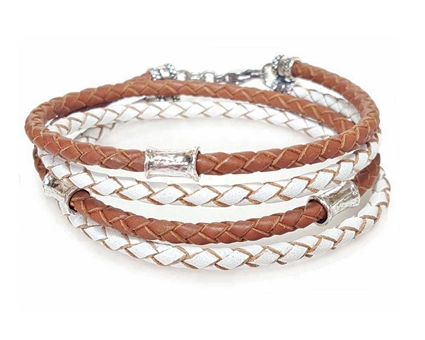 SADDLE and WHITE Leather Double Double Bracelet with 4 mm Silver Beads
