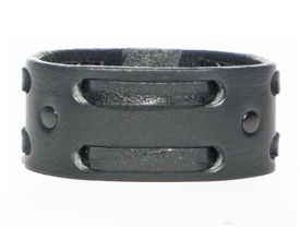 "1 1/4"" Double Weave Black Leather Cuff-Black on Black"