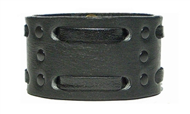"1 3/4"" Double Weave Black Leather Cuff- Black on Black"