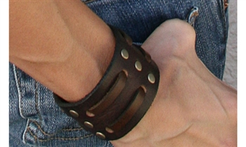 "1 3/4"" Double Weave Brown Leather Cuff"