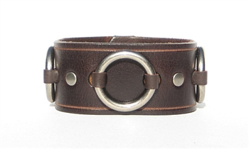 "1 1/4"" Brown Leather Ring Cuff"